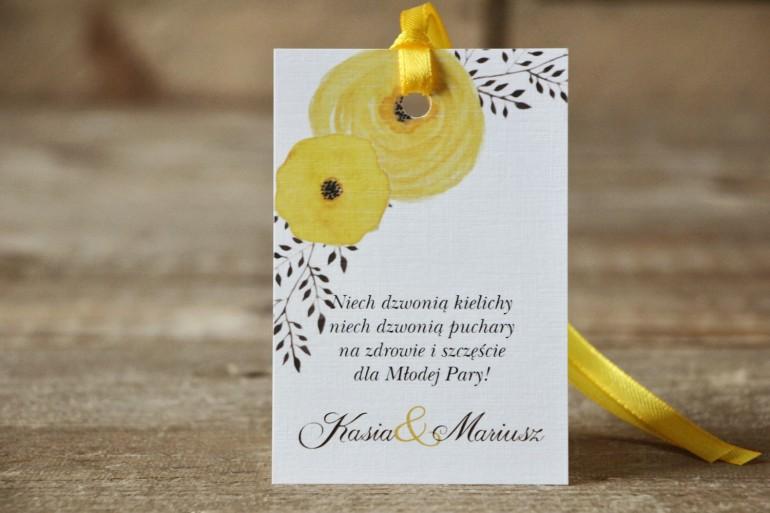 Zawieszka na butelkę, wódka weselna, ślub - Malowane Kwiaty nr 18 - Żółte jaskry - dodatki ślubne