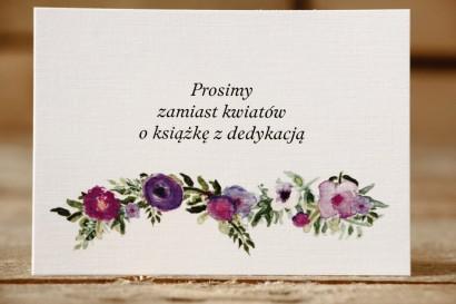 Bilecik do zaproszenia 105x74 mm - Malowane Kwiaty nr 14 - Fioletowe kwiaty - wierszyki o prezentach