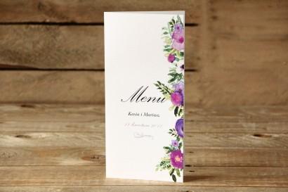 Menu weselne, dodatki na stół weselny - Malowane Kwiaty nr 14 - Fioletowe - dodatki ślubne
