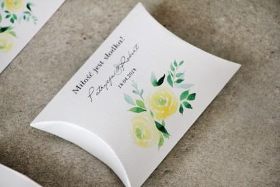 Pudełeczko poduszeczka na cukierki, podziękowania dla Gości weselnych - Pistacjowe nr 9 - Akwarelowe żółte róże