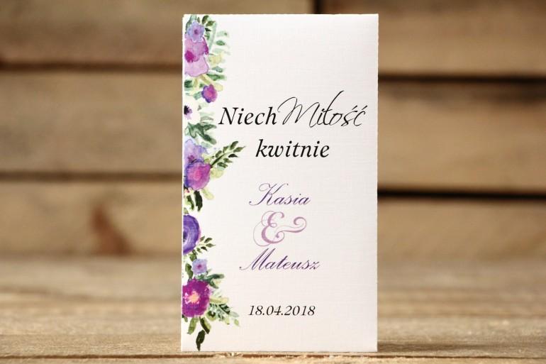 Podziękowania dla Gości - Nasiona Niezapominajki - Malowane Kwiaty nr 14 - Fioletowe - dodatki ślubne