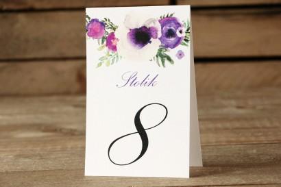 Numery stolików - Malowane Kwiaty nr 14 - Fioletowe - dodatki ślubne na stół weselny