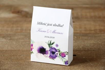 Pudełeczka na cukierki stojące - Malowane Kwiaty nr 14 - Fiolet - podziękowania dla Gości weselnych