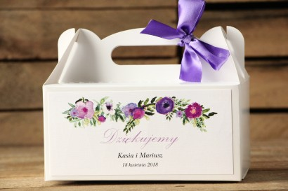 Pudełko na ciasto prostokątne - Malowane Kwiaty nr 14 - Fiolet - dodatki ślubne