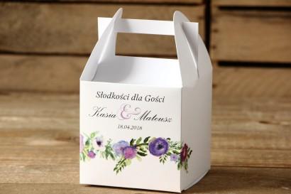 Pudełka na ciasto kwadratowe - Malowane Kwiaty nr 14 - Fioletowe - dodatki ślubne