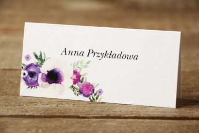 Winietki na stół weselny - Malowane Kwiaty nr 14 - Fioletowe - dodatki ślubne