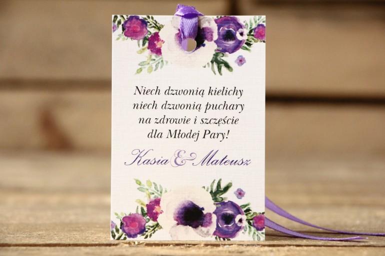 Zawieszki na butelkę, wódka weselna - Malowane Kwiaty nr 14 - Fiolet - dodatki ślubne