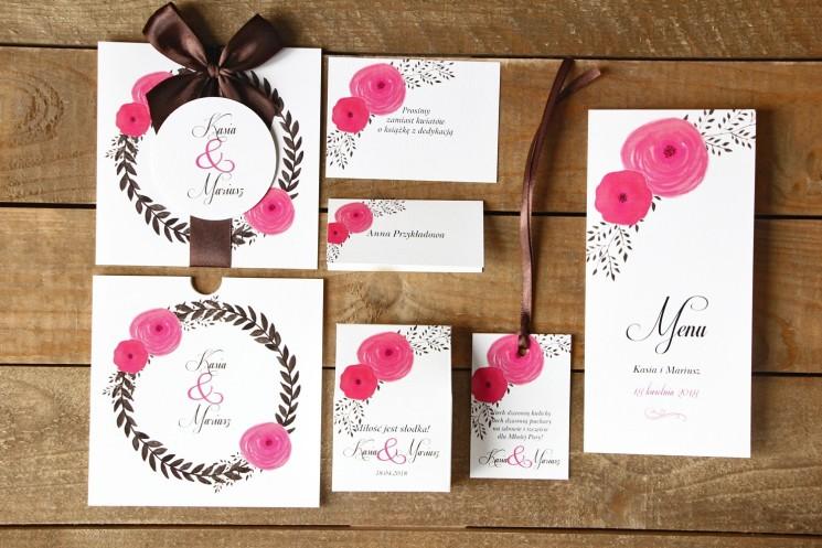 Zaproszenia ślubne z dodatkami - Malowane Kwiaty nr 19 - amarantowe jaskry - papeteria ślubna