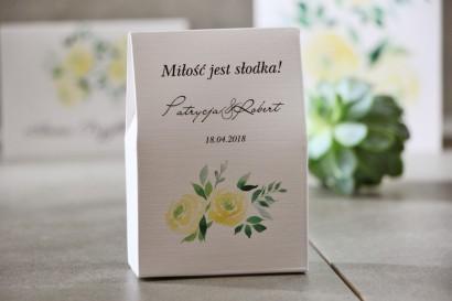 Pudełeczko stojące na cukierki, podziękowania dla Gości weselnych - Pistacjowe nr 9 - Delikatne akwarelowe żółte róże