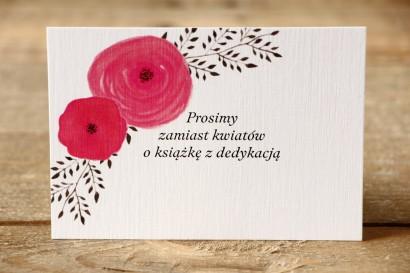 Bilecik do zaproszeń - Malowane Kwiaty nr 19 - Amarantowe jaskry