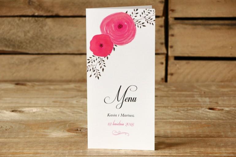 Menu weselne - Malowane Kwiaty nr 19 - Amarantowe jaskry - dodatki na stół weselny, akcesoria ślubne