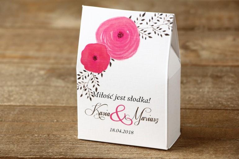 Pudełeczko stojące z cukierkami - Malowane Kwiaty nr 19 - Amarantowe jaskry - Podziękowania dla Gości weselnych