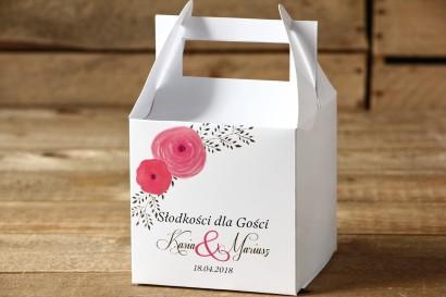 Pudełko na ciasto, kwadratowe - Malowane Kwiaty nr 19 - Amarantowe jaskry - dodatki ślubne, tort weselny