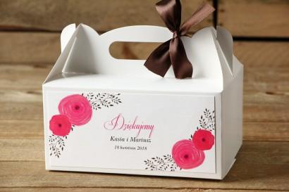 Prostokątne pudełko na ciasto, tort weselny, ślub - Malowane Kwiaty nr 19 - Amarantowe jaskry- dodatki ślubne