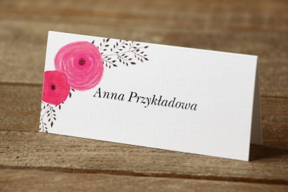 Winietki na stół weselny - Malowane Kwiaty nr 19 - Amarantowe jaskry - dodatki ślubne