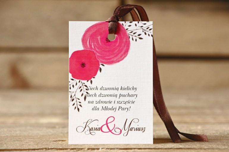 Zawieszka na butelkę - Malowane Kwiaty nr 19 - Amarantowe - dodatki ślubne, akcesoria weselne