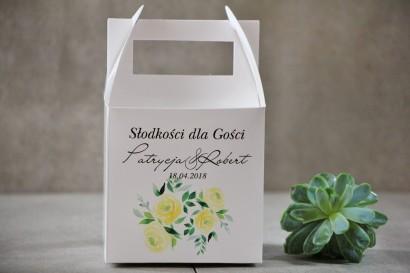 Pudełko na ciasto kwadratowe, tort weselny - Pistacjowe nr 9 - Delikatne akwarelowe żółte róże