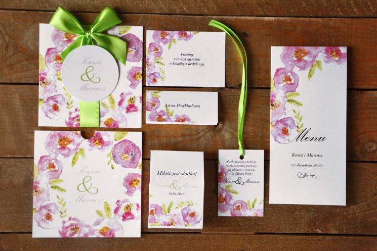 Zaproszenia ślubne z dodatkami - Malowane Kwiaty nr 20 - Pudrowe kwiaty - papeteria ślubna