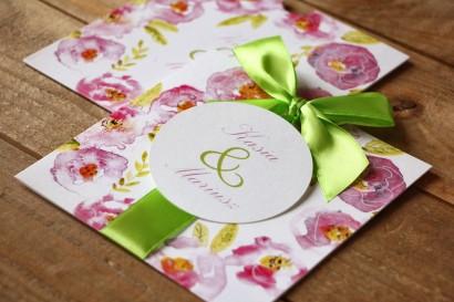 Zaproszenia ślubne w etui - Malowane Kwiaty nr 20 - Pudrowe kwiaty - z kokardą