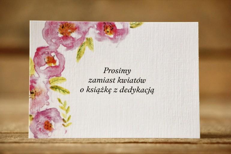 Bilecik do zaproszenia ślubnego, wierszyki o prezentach, potwierdzenie przybycia - Malowane Kwiaty nr 20 - Różowe kwiaty