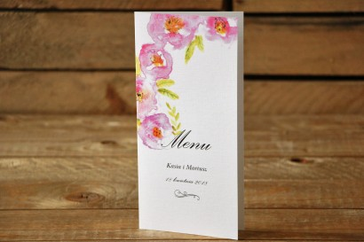 Menu weselne - Malowane Kwiaty nr 20 - Pudrowe kwiaty - dodatki na stół weselny, akcesoria ślubne