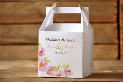 Pudełko na ciasto, kwadratowe - Malowane Kwiaty nr 20 - Pudrowe kwiaty - dodatki ślubne, tort weselny