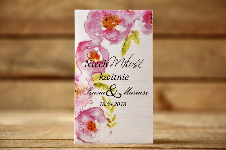Podziękowania dla Gości - Nasiona Niezapominajki - Malowane Kwiaty nr 20 - Pudrowe - dodatki ślubne