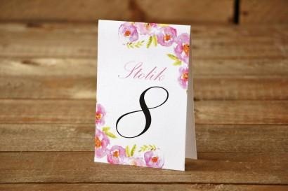 Numery stolików - Malowane Kwiaty nr 20 - Pudrowe - dodatki ślubne, akcesoria na stół weselny