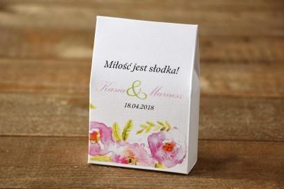 Pudełeczko stojące z cukierkami - Malowane Kwiaty nr 20 - Pudrowe - Podziękowania dla Gości weselnych
