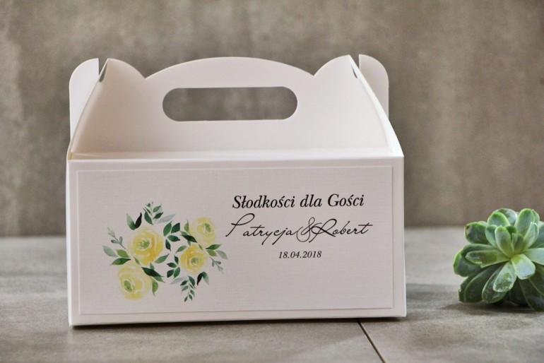 Prostokątne pudełko na ciasto, tort weselny, Ślub - Pistacjowe nr 9 - Delikatne akwarelowe żółte róże