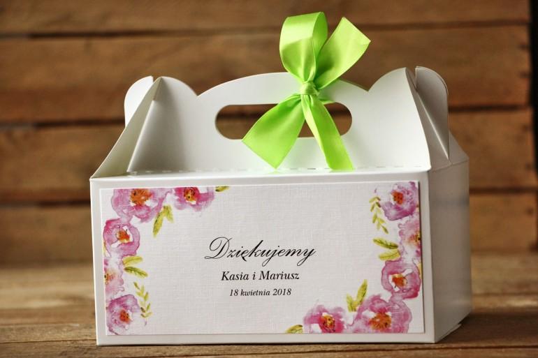 Prostokątne pudełko na ciasto, tort weselny, ślub - Malowane Kwiaty nr 20 - Pudrowe - dodatki ślubne