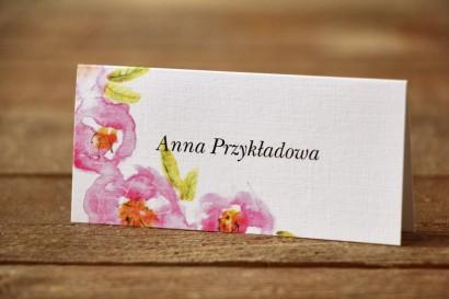Winietki na stół weselny - Malowane Kwiaty nr 20 - Pudrowe - dodatki ślubne