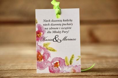 Zawieszka na butelkę - Malowane Kwiaty nr 20 - Pudrowe - dodatki ślubne, akcesoria weselne