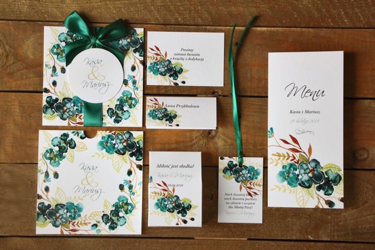 Zaproszenia ślubne z dodatkami - Malowane Kwiaty nr 21 - Szmaragdowe - papeteria ślubna