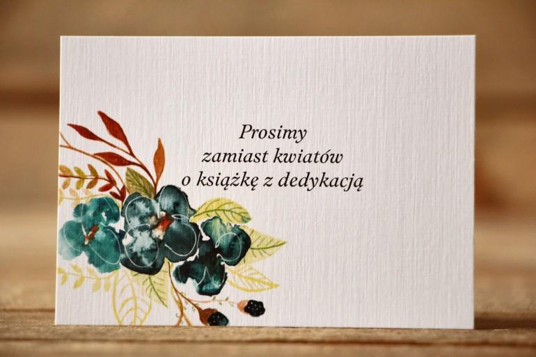 Bilecik do zaproszenia 105x74 mm - Malowane Kwiaty nr 21 - Szmaragdowe - wierszyki o prezentach