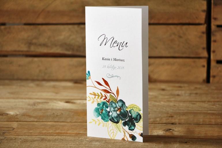 Menu weselne - Malowane Kwiaty nr 21 - Szmaragdowe - dodatki na stół weselny, akcesoria ślubne