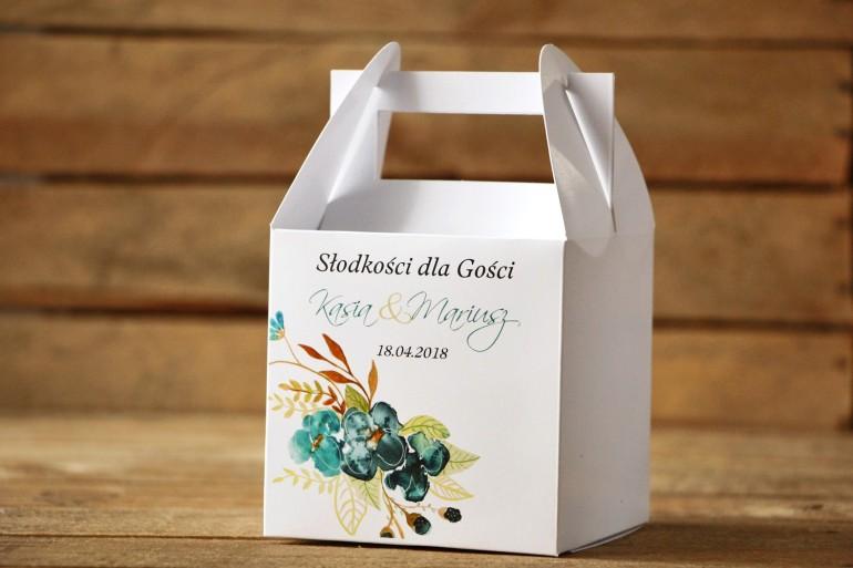 Pudełko na ciasto, kwadratowe - Malowane Kwiaty nr 21 - Szmaragdowe - dodatki ślubne, tort weselny
