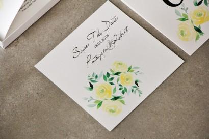 Bilecik Save The Date do zaproszenia - Pistacjowe nr 9 - Żółte akwarelowe róże