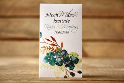 Podziękowania dla Gości - Nasiona Niezapominajki - Malowane Kwiaty nr 21 - Szmaragdowe - dodatki ślubne