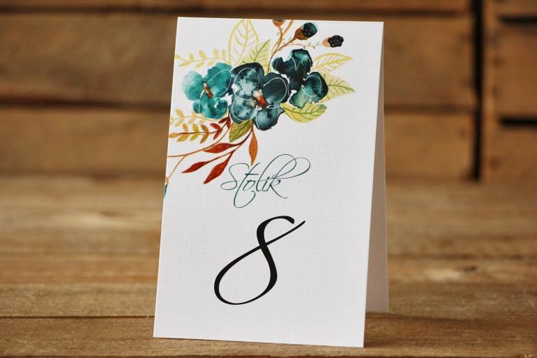 Numery stolików - Malowane Kwiaty nr 21 - Szmaragdowe - dodatki ślubne, akcesoria na stół weselny