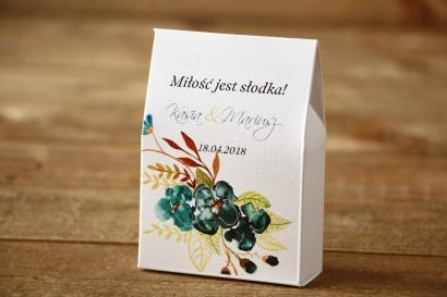 Pudełeczko stojące z cukierkami - Malowane Kwiaty nr 21 - Szmaragdowe - Podziękowania dla Gości weselnych