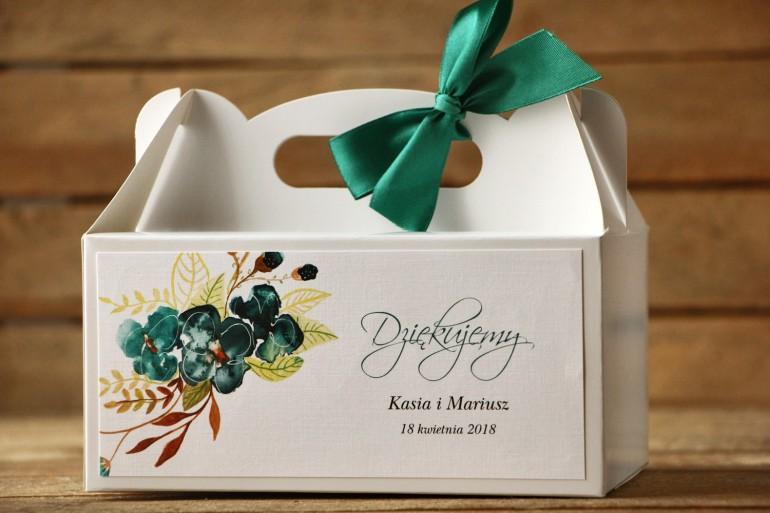 Prostokątne pudełko na ciasto, tort weselny, ślub - Malowane Kwiaty nr 21 - Szmaragdowe - dodatki ślubne