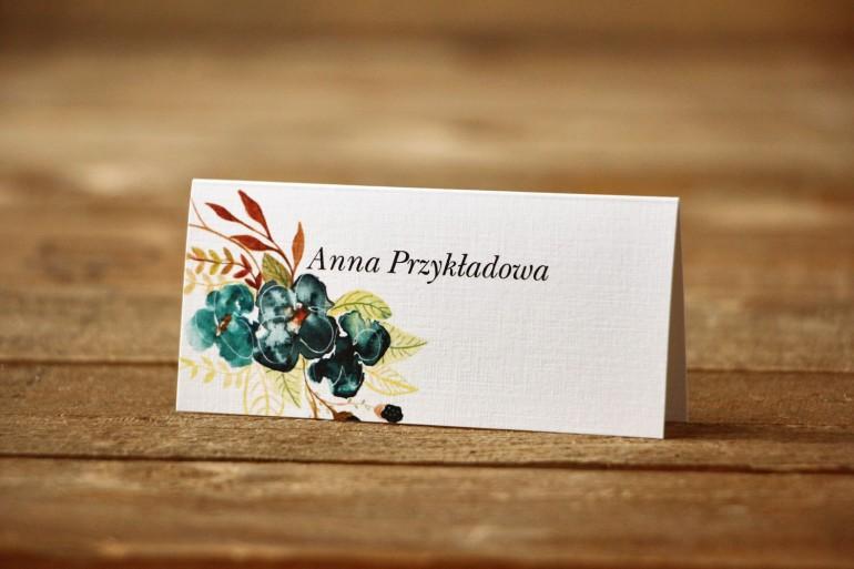 Winietki na stół weselny - Malowane Kwiaty nr 21 - Szmaragdowe - dodatki ślubne