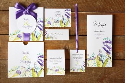 Zaproszenia ślubne z dodatkami - Malowane Kwiaty nr 22 - Fiole i zieleń - papeteria ślubna