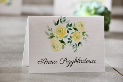 Winietki na stół weselny, ślub - Pistacjowe nr 9 - Delikatne akwarelowe róże