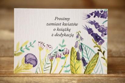 Bilecik do zaproszenia 105x74 mm - Malowane Kwiaty nr 22 - Fiolet i zieleń - wierszyki o prezentach