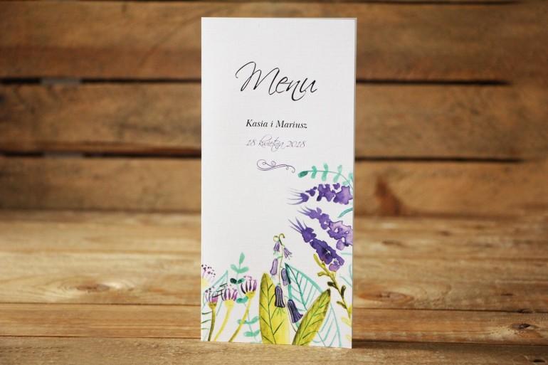 Menu weselne - Malowane Kwiaty nr 22 - Fiolet i zieleń - dodatki na stół weselny, akcesoria ślubne