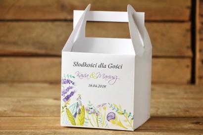 Pudełko na ciasto, kwadratowe - Malowane Kwiaty nr 22 - Fiolet i zieleń - dodatki ślubne, tort weselny