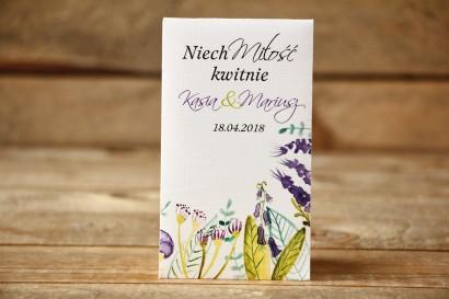 Podziękowania dla Gości - Nasiona Niezapominajki - Malowane Kwiaty nr 22 - Fiolet i zieleń - dodatki ślubne