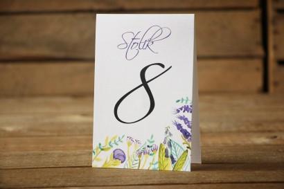 Numery stolików - Malowane Kwiaty nr 22 - Fiolet i zieleń - dodatki ślubne, akcesoria na stół weselny